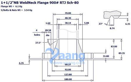 201810291737178570926 - ASME B16.5 ASTM A182 F316L WNRTJ Flange 1-1/2 Inch Sch80 900#