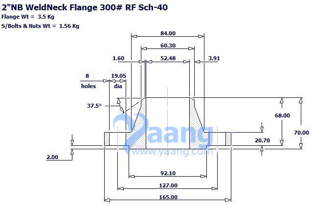 20189302231412405536 - ASME B16.5 F304L WNRF Flange DN50 SCH40 300LB