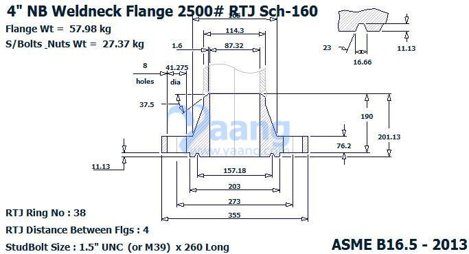"20191021101442 11330 - ASME B16.5 ASTM A182 UNS S32205 WN RTJ Flange 4"" SCH160 2500#"